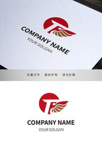 展翅腾飞商务服务IT类品牌标志设计
