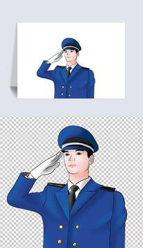 穿着军装敬礼的男军人插画