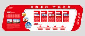 红色大气立体公司企业文化墙