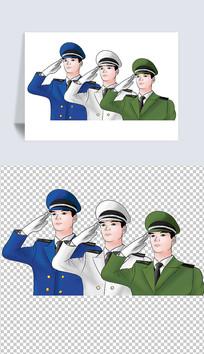 建军节敬礼的军人插画