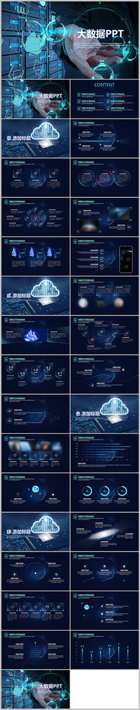 科技云计算互联网创业大数据ppt模板