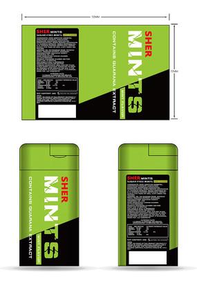 口香糖椭圆形绿色铁罐瓶子包装