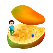 原创芒果跳房子的小男孩