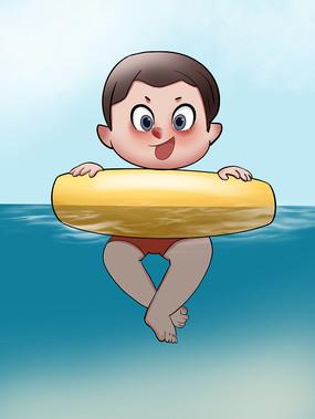 原创手绘插画可爱卡通男孩夏天游泳元素