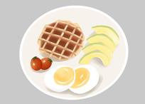 原创手绘插画美味早餐华夫饼元素