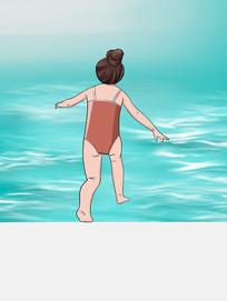 原创手绘插画夏天游泳夏日卡通女生安全元素