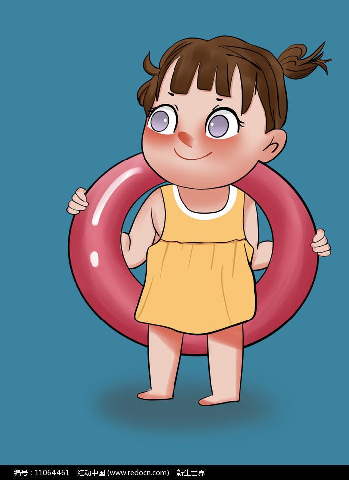 原创手绘插画夏天游泳夏日凉爽卡通女孩元素图片