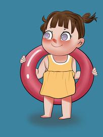 原创手绘插画夏天游泳夏日凉爽卡通女孩元素