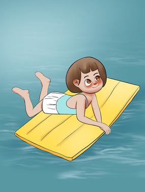 原创手绘插画夏天游泳夏日凉爽元素