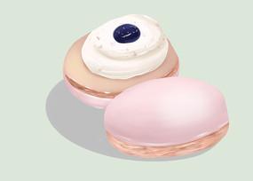 原创手绘插画下午茶甜品马卡龙元素