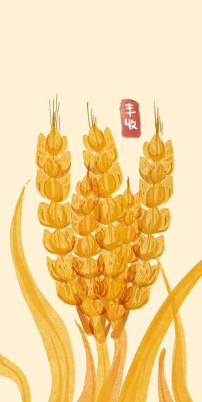 原创手绘水彩水稻