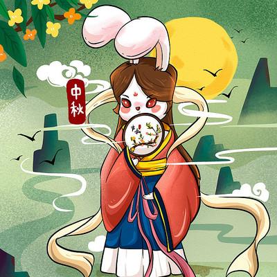 原创中秋兔子嫦娥插画
