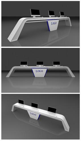 白色科技展台模型