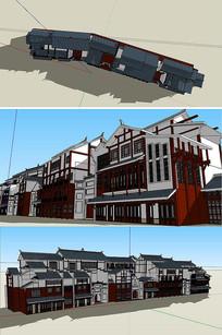 复古商业街建筑SU模型
