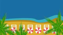 俯视没有人的沙滩扁平风格矢量插画