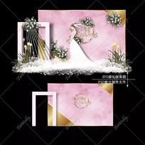 粉金色水彩婚礼效果图婚礼大理石婚庆迎宾区