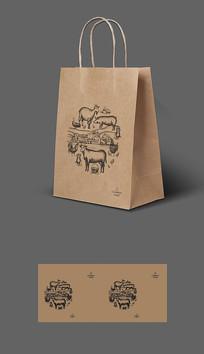高档牛肉猪肉牛皮纸袋包装