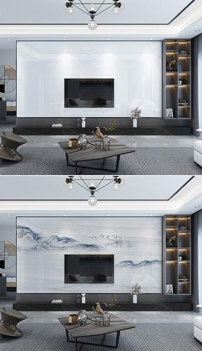 高清現代輕奢客廳石材背景墻場景樣機