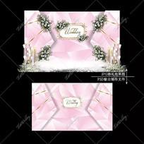 浅粉色大理石婚礼效果图设计婚庆迎宾区背景