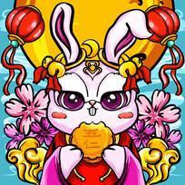 原创国潮兔子吃月饼
