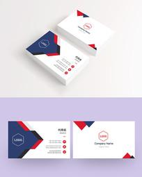 蓝色欧美风简洁高端企业商务个性拼色名片