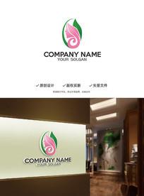 柔美女性美容美发创意logo