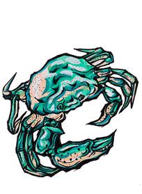 螃蟹插画手绘稿