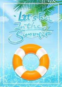 英文夏天游泳宣传海报