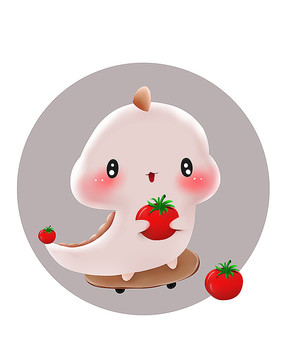 原创可爱卡通动物滑板西红柿恐龙