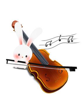 原创可爱卡通动物兔子拉小提琴