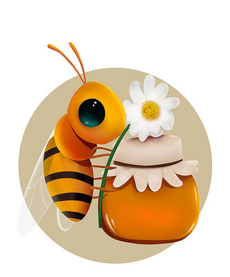 原创可爱卡通蜜罐蜜蜂