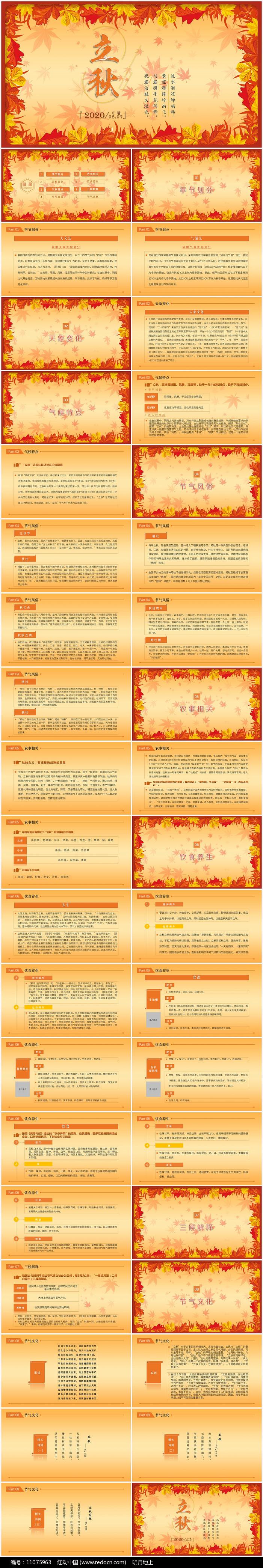 金秋丰收季节秋天秋季立秋动态PPT模板图片