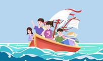 手绘简洁高考学生乘船破浪考生加油卡通插画