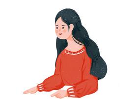 原创手绘人物插画长发女孩素材PSD