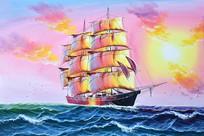 高清手绘一帆风顺油画图装饰画