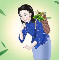 美丽的农家女插画
