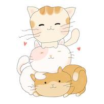 三只顽皮的猫咪