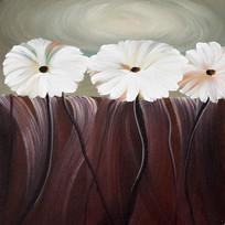 手绘抽象白色花朵油画装饰画