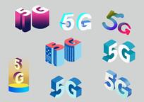 原创手绘插画创意5G文字图标素材PSD