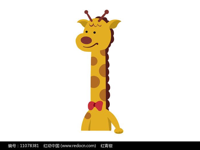 原创手绘插画卡通动物长颈鹿素材PSD