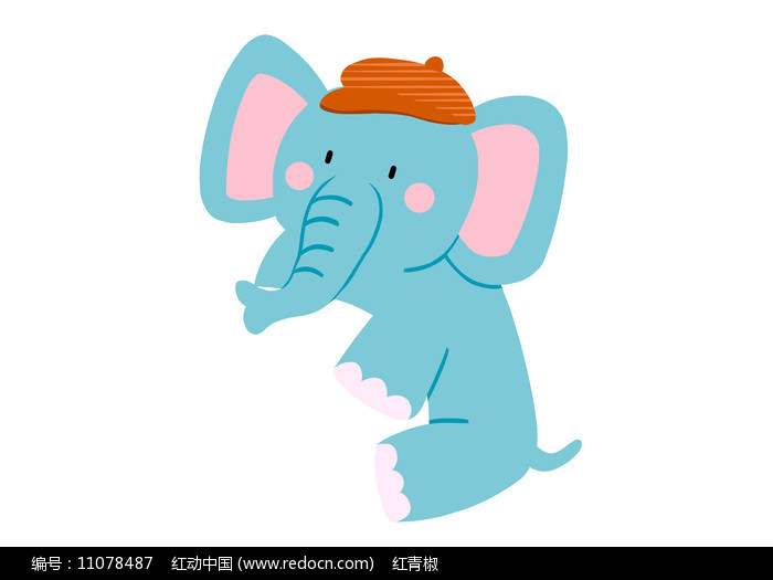 原创手绘插画卡通动物大象素材PSD