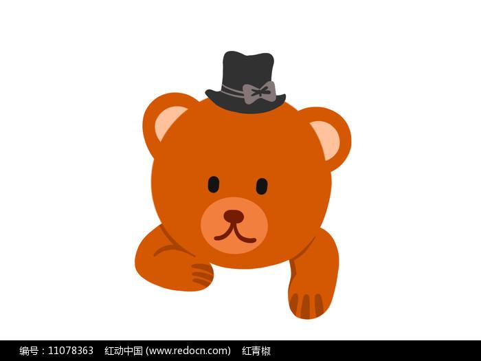 原创手绘插画卡通动物礼帽小熊素材PSD