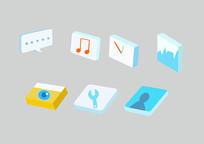 原创手绘插画手机软件立体图标素材PSD
