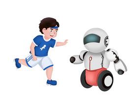 原创手绘人工智能小男孩机器人素材PSD