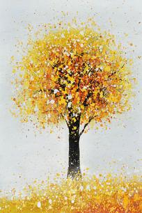 纯手绘高清金色发财树油画