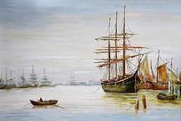 手绘欧式帆船海景油画装饰画