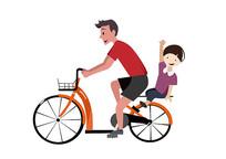 原创手绘插画卡通人物父子骑车素材AI