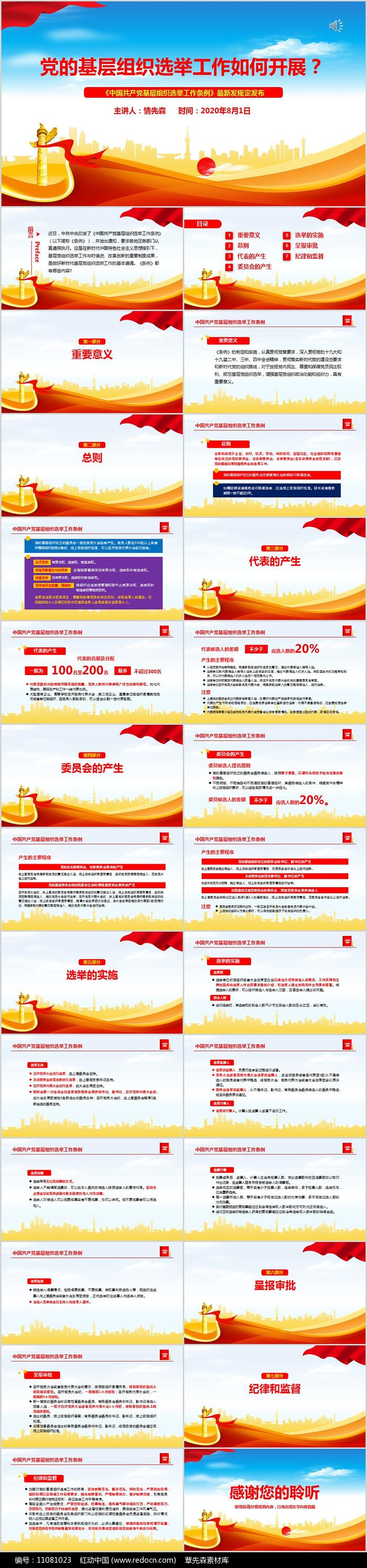 中国共产党基层组织选举工作条例PPT图片