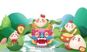 手绘插画传统端午节龙舟粽子节日素材