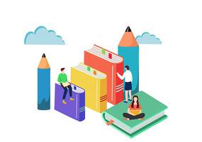 手绘卡通学生科技看书学习插画素材